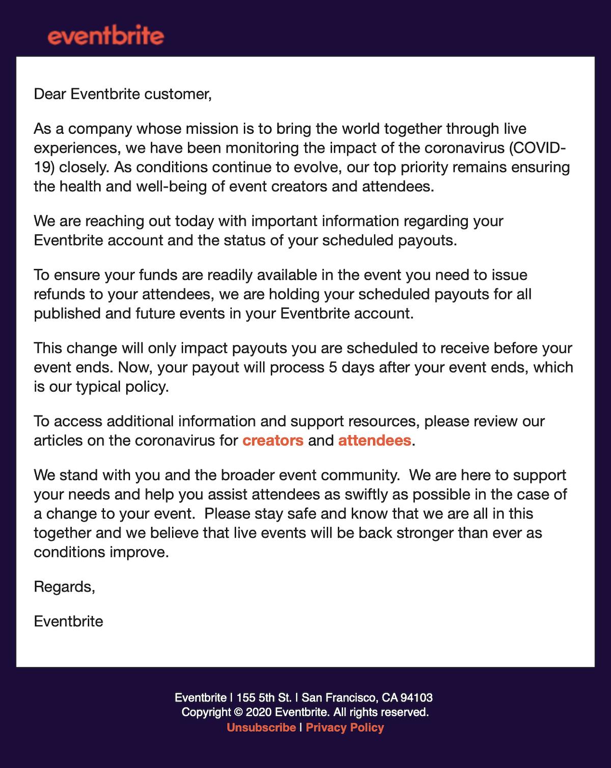 EVENTBRITE Email 13 March 2020 COVID-19 1200pxl