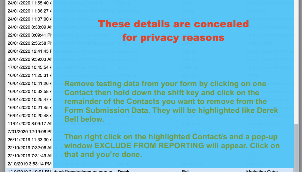 Form Submission Data Exclude from Reporting
